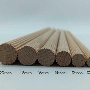Varillas estriadas de madera